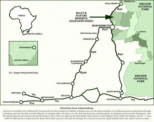 Map Sausage Tree Safari Camp in Balule Nature Reserve  Greater Kruger Park  Kruger National Park (LIM)  Limpopo  South Africa