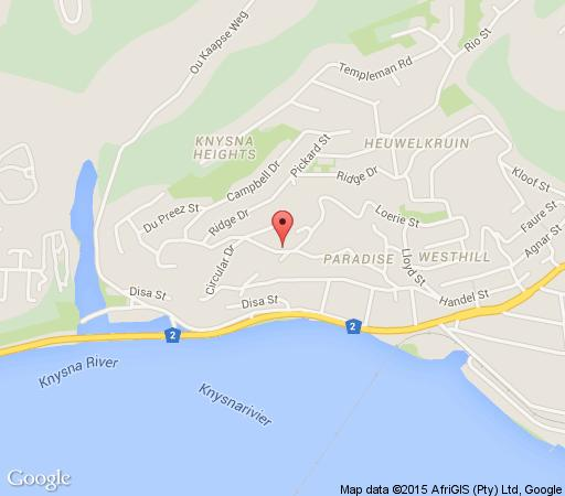 Map Collins Cottage in Knysna  Garden Route  Western Cape  South Africa