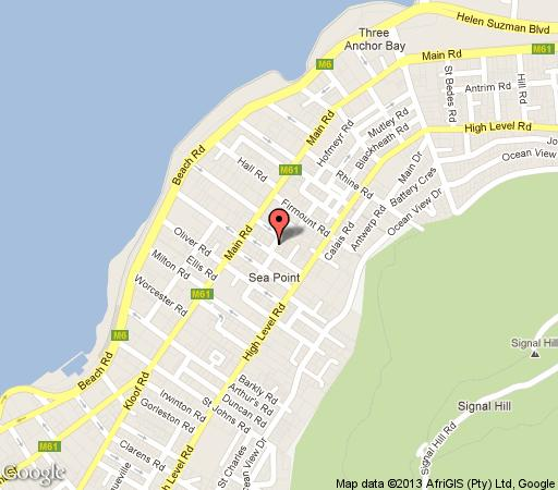 Map Villa Costa Rose in Sea Point  Atlantic Seaboard  Cape Town  Western Cape  South Africa