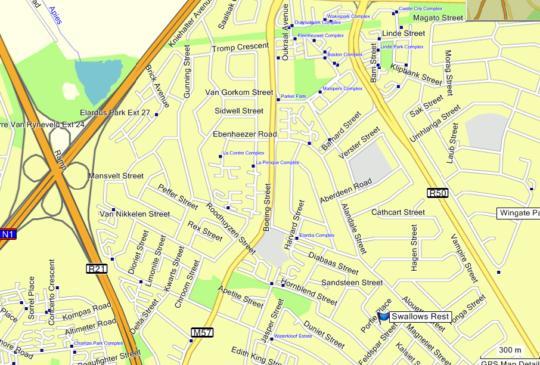 Map Swallows Rest Furnished House in Elardus Park  Pretoria East  Pretoria / Tshwane  Gauteng  South Africa