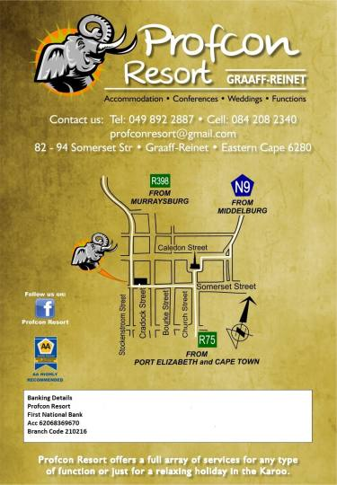 Map Profcon Resort in Graaff-Reinet  Cacadu (Sarah Baartman)  Eastern Cape  South Africa