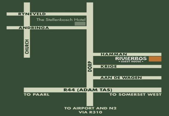 Map Rivierbos Guest House  in Stellenbosch  Cape Winelands  Western Cape  South Africa