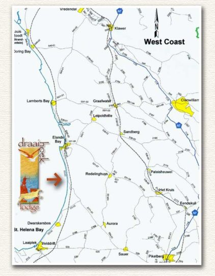 Map Draaihoek Lodge & Restaurant in Elands Bay  West Coast (WC)  Western Cape  South Africa