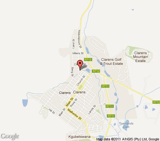 Map Sir Henry\'s Guest house in Clarens  Thabo Mofutsanyana  Free State  South Africa