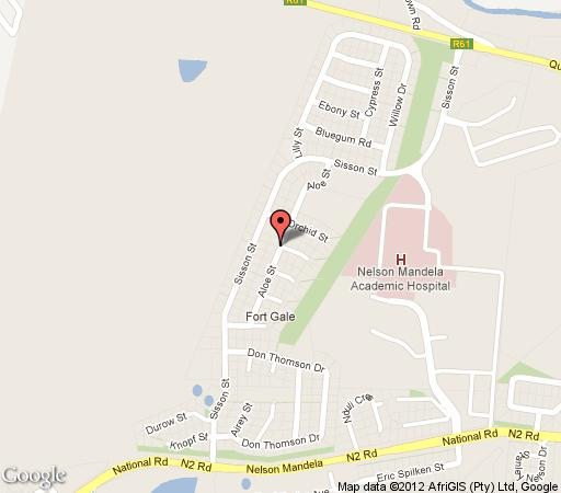 Map Mthatha Backpackers and Tours in Mthatha (Umtata)  Wild Coast  Eastern Cape  South Africa