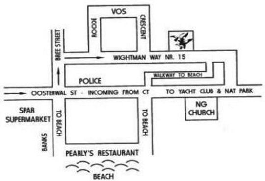 Map Seagulls Guest House in Langebaan  West Coast (WC)  Western Cape  South Africa