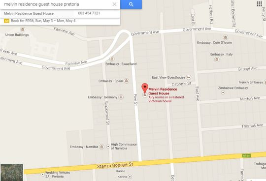 Map Melvin Residence Guest House in Arcadia  Pretoria Central  Pretoria / Tshwane  Gauteng  South Africa