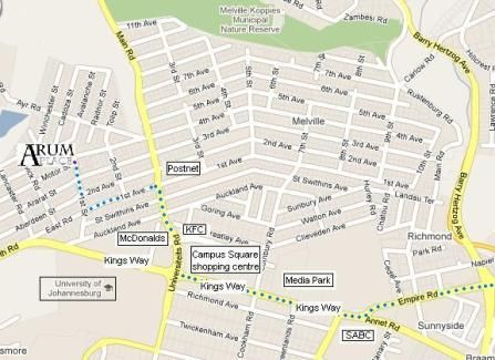 Map Arum Place in Melville (JHB)  Northcliff/Rosebank  Johannesburg  Gauteng  South Africa
