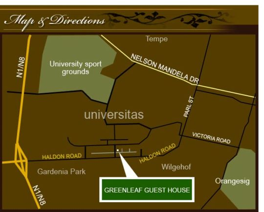 Map Greenleaf Guest House in Bloemfontein  Mangaung  Free State  South Africa
