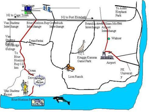 Map Blue Horizon Bay Guest House in Blue Horizon Bay  Port Elizabeth  Cacadu (Sarah Baartman)  Eastern Cape  South Africa