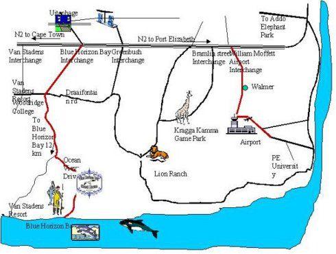 Map Blue Horizon Bay Guest House in Blue Horizon Bay  Port Elizabeth  Cacadu (Sarah Baartman)  Eastern Cape  South Africa