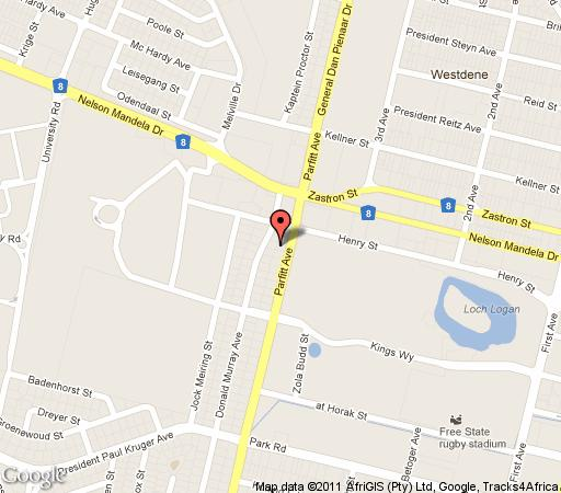 Map De Akker in Bloemfontein  Mangaung  Free State  South Africa