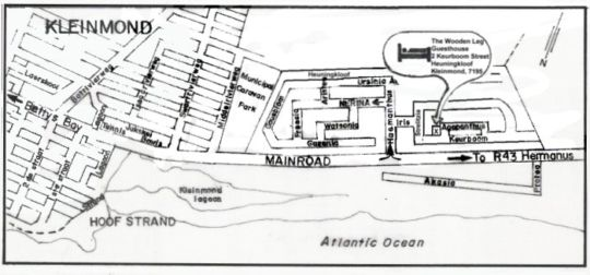 Map The Woodenleg Guest House in Kleinmond  Overberg  Western Cape  Südafrika