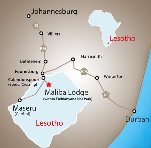 Map maliba mountain lodge in tsehlanyane national park butha buthe