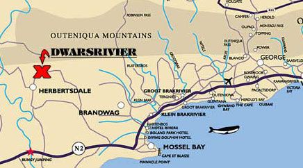 Map Dwarsrivier Country Getaway in Herbertsdale  Garden Route  Western Cape  South Africa