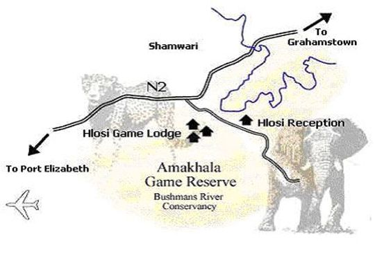 Map Hlosi Game Lodge - Amakhala Game Reserve in Grahamstown  Cacadu (Sarah Baartman)  Eastern Cape  South Africa