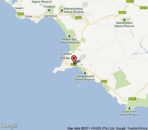 Map KallieSimon Holiday House in Franskraal  Overberg  Western Cape  South Africa