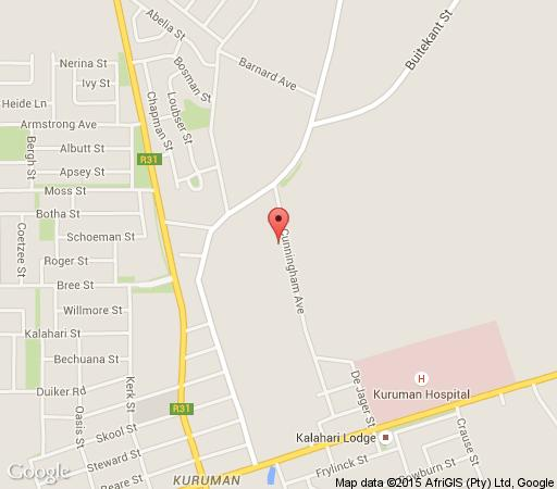 Map Cunningham Cottage in Kuruman  Kalahari  Northern Cape  South Africa