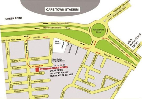 Map Stadium Guest House in Green Point  Atlantic Seaboard  Cape Town  Western Cape  South Africa