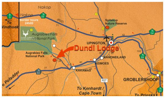 Map Dundi Lodge in Augrabies  Green Kalahari  Northern Cape  South Africa