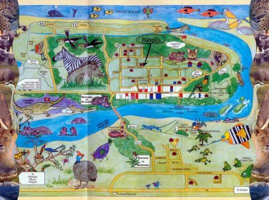 Map Parkers Cottages in St Lucia  Zululand  KwaZulu Natal  South Africa