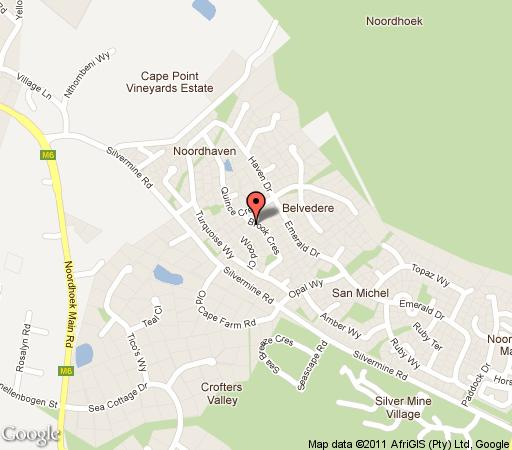 Map Brynbrook House in Noordhoek  False Bay  Cape Town  Western Cape  South Africa