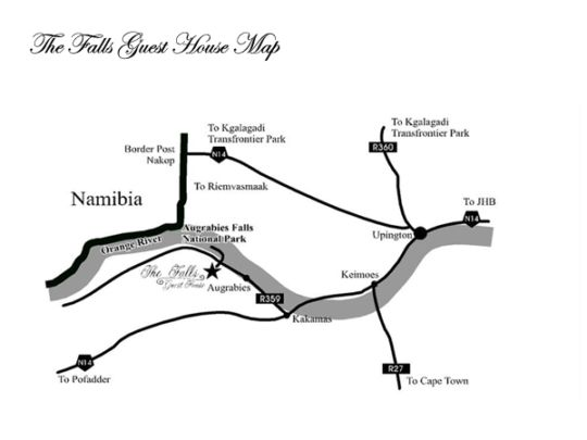 Map The Falls Guest House in Augrabies  Green Kalahari  Northern Cape  South Africa