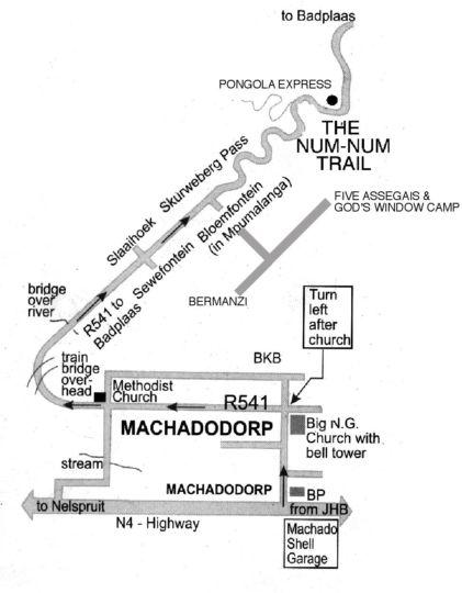 Map Aloe Kaya Hiking Camp (Five Assegais) in Machadodorp  Highlands  Mpumalanga  South Africa