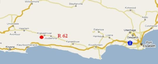 Map Apple Valley Guesthouse in Krakeel  Cacadu (Sarah Baartman)  Eastern Cape  South Africa