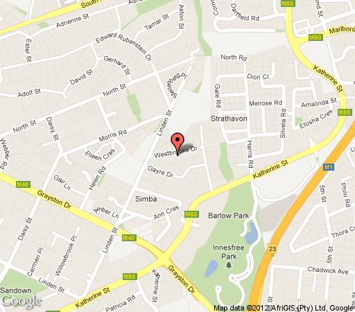 Map 6 on Westbrooke Guesthouse in Sandown  Sandton  Johannesburg  Gauteng  South Africa