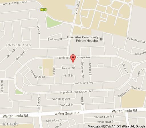 Map Alte Eiche in Bloemfontein  Mangaung  Free State  South Africa