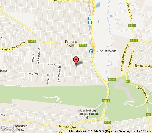 Map A Bohemian Rhapsody in Pretoria North Suburb  Pretoria North  Pretoria / Tshwane  Gauteng  South Africa