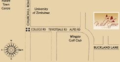 Map Wild Geese Lodge in Harare  Zimbabwe