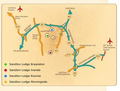 Map Sandton Lodge Rivonia in Rivonia  Sandton  Johannesburg  Gauteng  South Africa