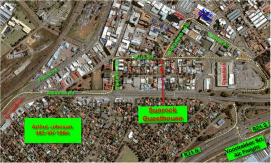 Map Sunrock in Kempton Park  Ekurhuleni (East Rand)  Gauteng  South Africa