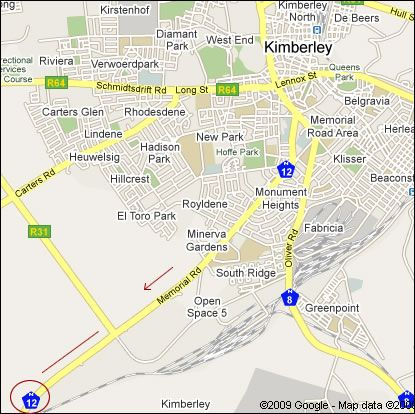 Map Langberg Guest Farm in Kimberley  Diamond Fields  Northern Cape  South Africa