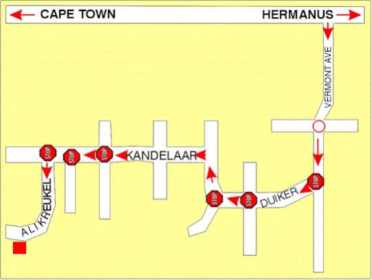 Map Dolphin House - The Bachelor Flat in Hermanus  Overberg  Western Cape  South Africa