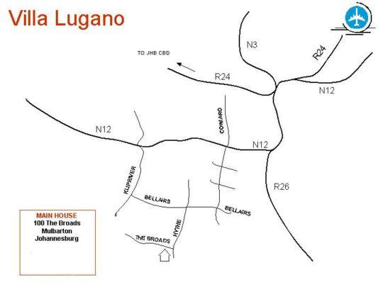 Map Villa Lugano Guesthouse in Mulbarton  Johannesburg South  Johannesburg  Gauteng  South Africa