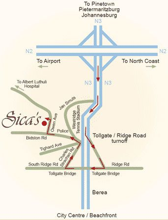 Map Sica\'s Guest House in Westville  Western Suburbs (DBN)  Durban and Surrounds  KwaZulu Natal  South Africa
