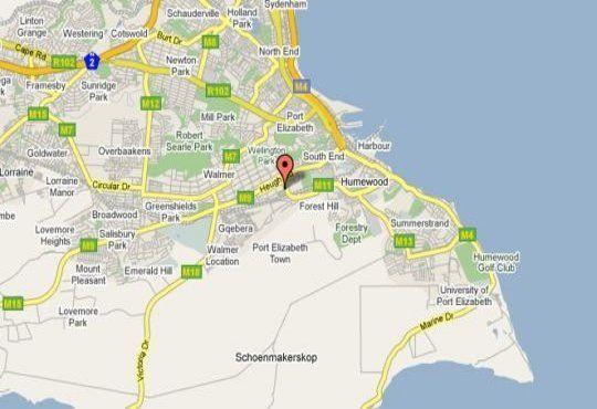 Map Pine Tree Lodge in Walmer  Port Elizabeth  Cacadu (Sarah Baartman)  Eastern Cape  South Africa