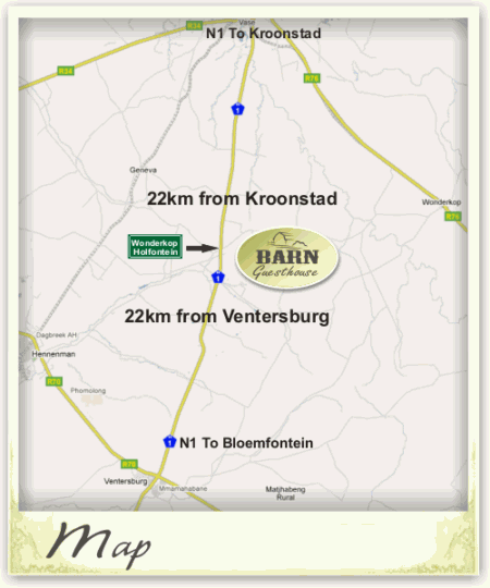 Map Barn Guesthouse in Kroonstad  Fezile Dabi (Northern Free State)  Free State  South Africa