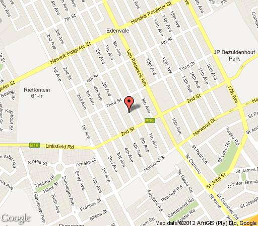 Map Meridian Hospitality Guest House in Edenvale  Ekurhuleni (East Rand)  Gauteng  South Africa