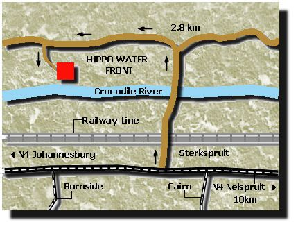 Map Hippo Water Front Lodge in Nelspruit  Lowveld  Mpumalanga  South Africa