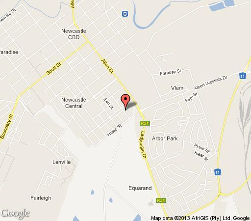 Map Guesthouse Kestrels in Newcastle  Battlefields  KwaZulu Natal  South Africa