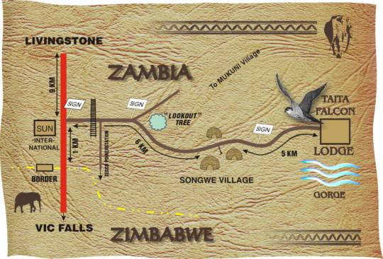 Map Taita Falcon Lodge in Victoria Falls  Livingstone  Zambia