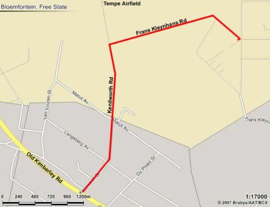 Map Liedjiesbos in Bloemfontein  Mangaung  Free State  South Africa
