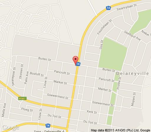 Map Salty Waters Bed & Breakfast in Delareyville  Central (NW)  North West  South Africa