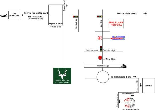 Map Villa Langa B&B in Malelane  Kruger National Park (MP)  Mpumalanga  South Africa