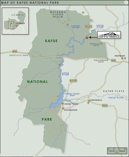 Map Hippo Lodge in Kafue  Zambia