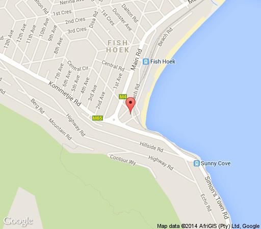 Map Calders Hotel and Conference Centre in Fish Hoek  False Bay  Cape Town  Western Cape  South Africa